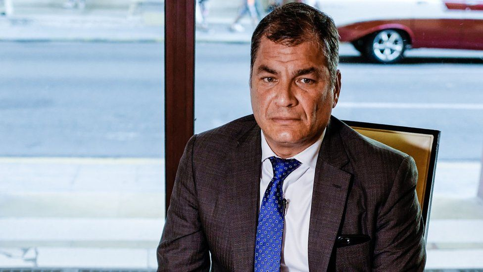 Ex-President Rafael Correa in an interview with AFP in Havana