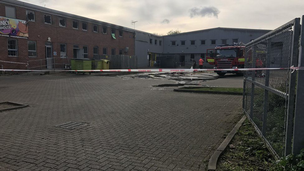 Children's play centre after fire