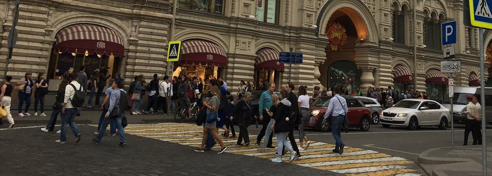 The scene outside GUM shopping centre in Moscow after evacuation on 13 Sept