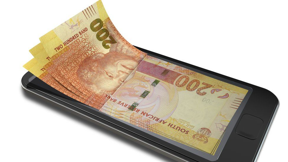 South African rand on a mobile phone