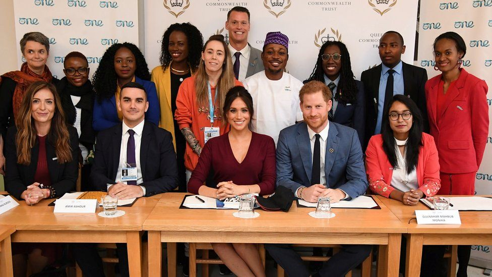 The Duke and Duchess of Sussex with delegates