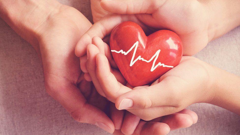 Illustration of a heart transplant