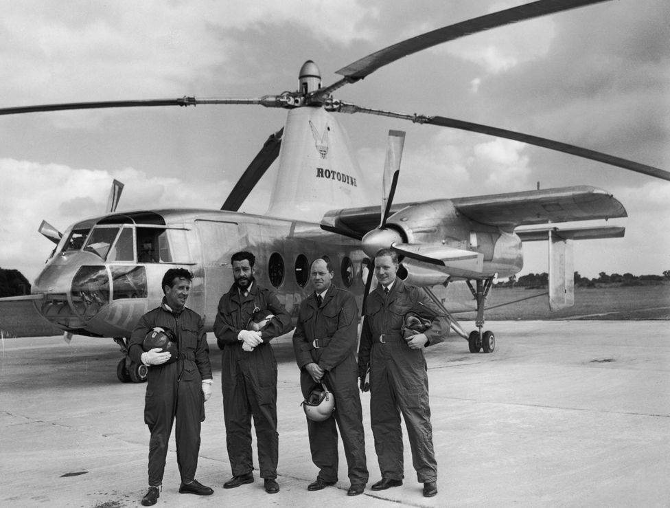 The crew of the Fairey Rotodyne prototype XE521 at White Waltham, Berkshire, where they are giving the aircraft's first flying demonstration for the press, 3rd June 1958.