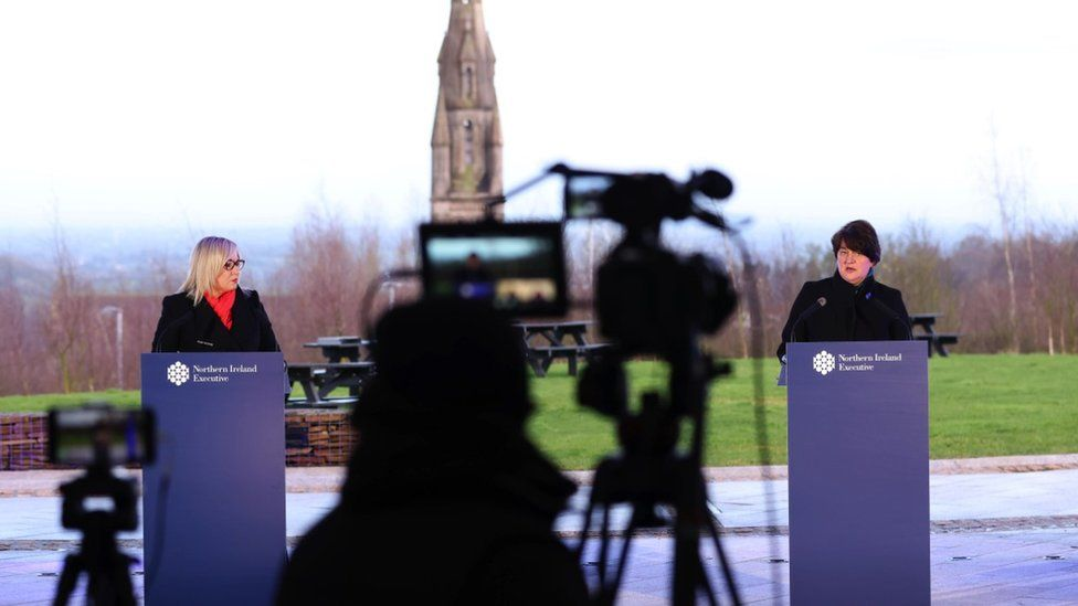 Michelle O'Neill and Arlene Foster at a press conference in Dungannon