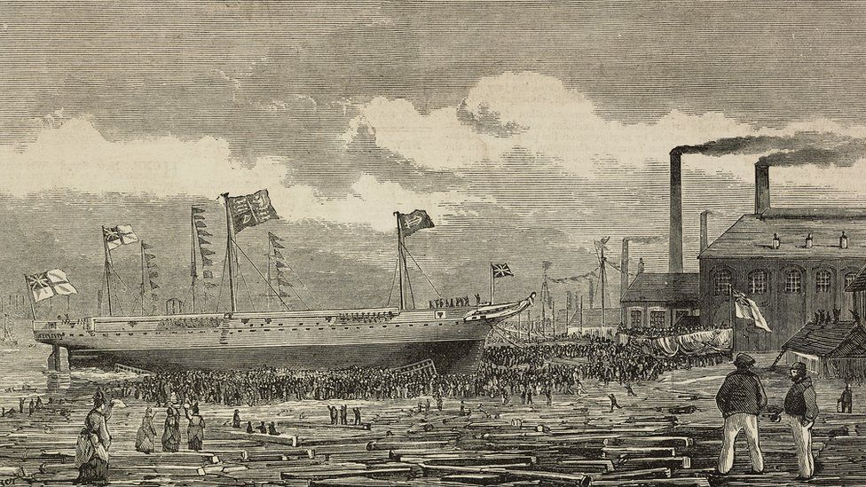 Launch of HMS Tourmaline at Middlesbrough in 1875