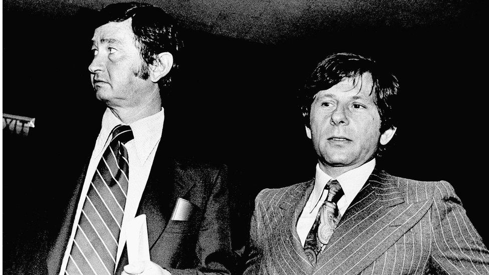 Film Director Roman Polanski (right), and his attorney Douglas Dalton in court in Santa Monica, California (9 Aug 1977)