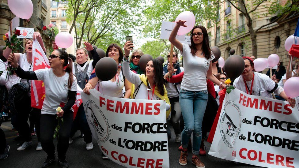 Women demonstrate against police violence