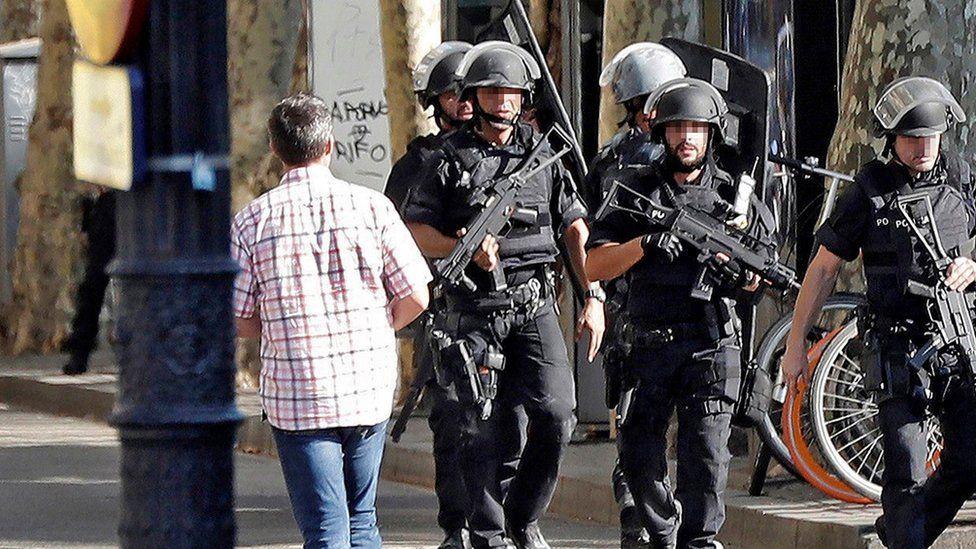 Armed police arrive on the scene