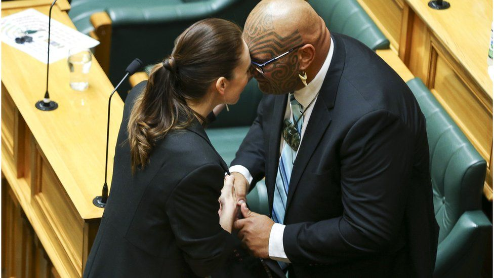 Waititi greets PM Jacinda Ardern with a hongi, a traditional Maori greeting, in November
