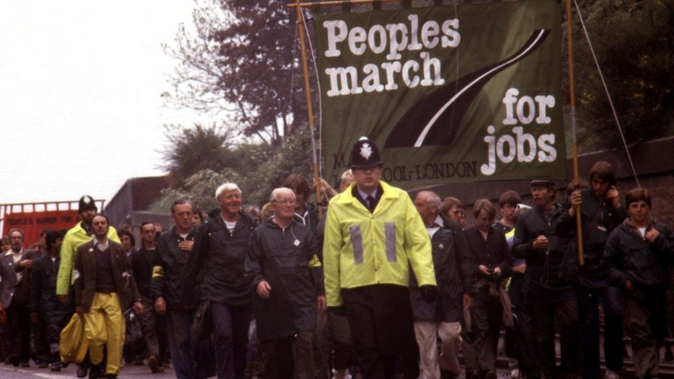 Demonstrators march from Liverpool to London in protest of the unemployment rate when Margaret Thatcher was prime minister, in 1981