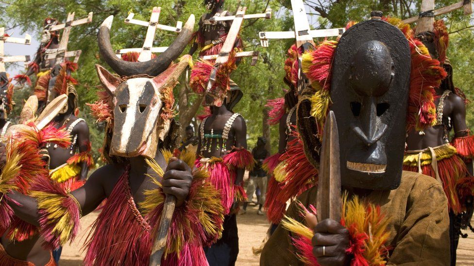 People in traditional Dogon costumes