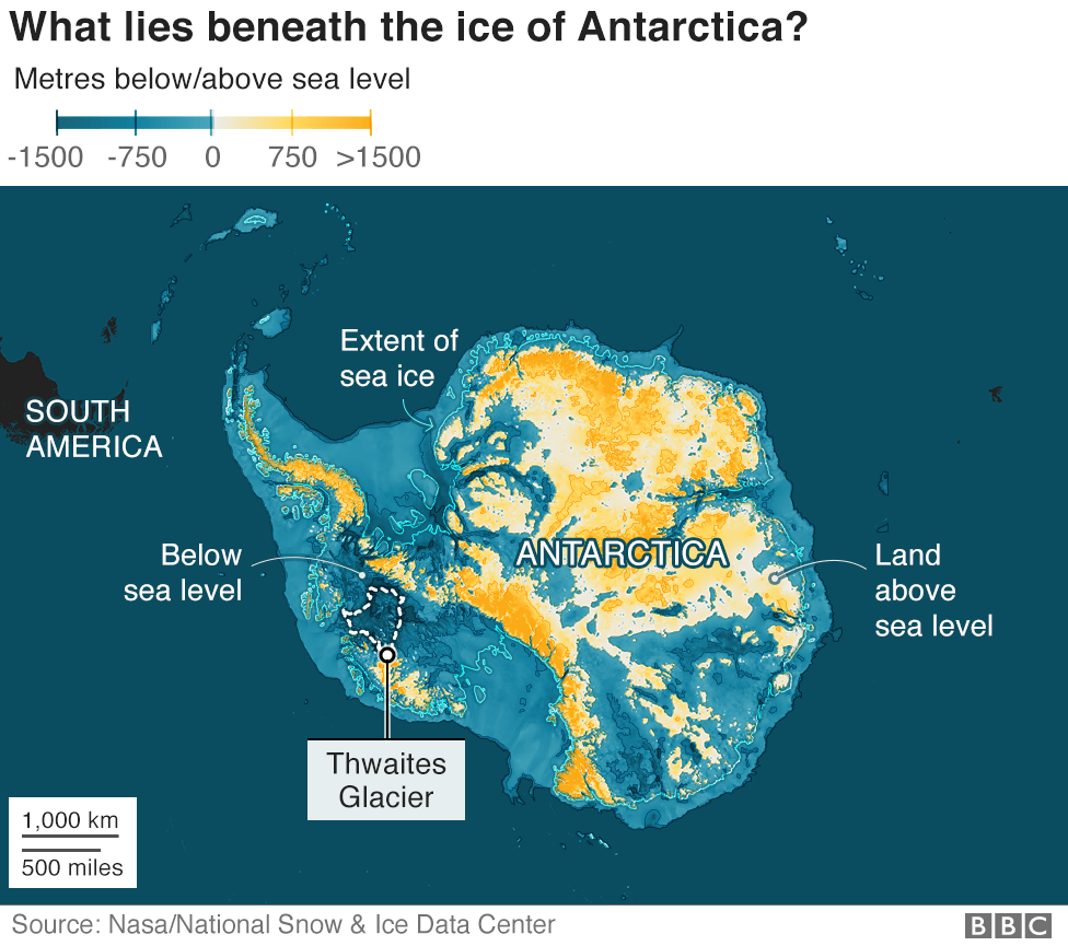 Map of Antarctica showing what lies under the ice