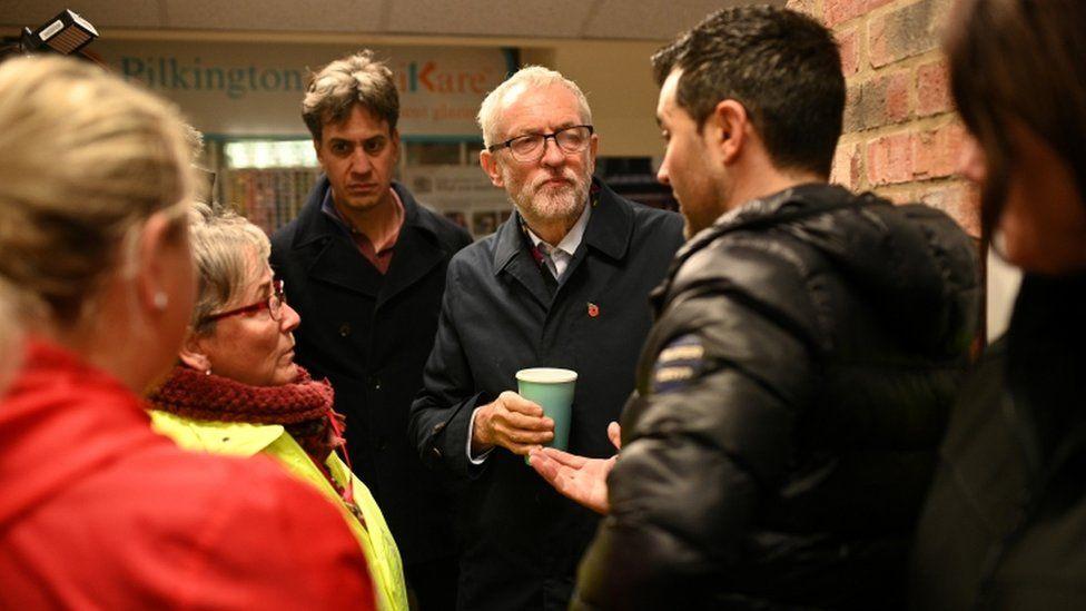 Jeremy Corbyn with flood victims