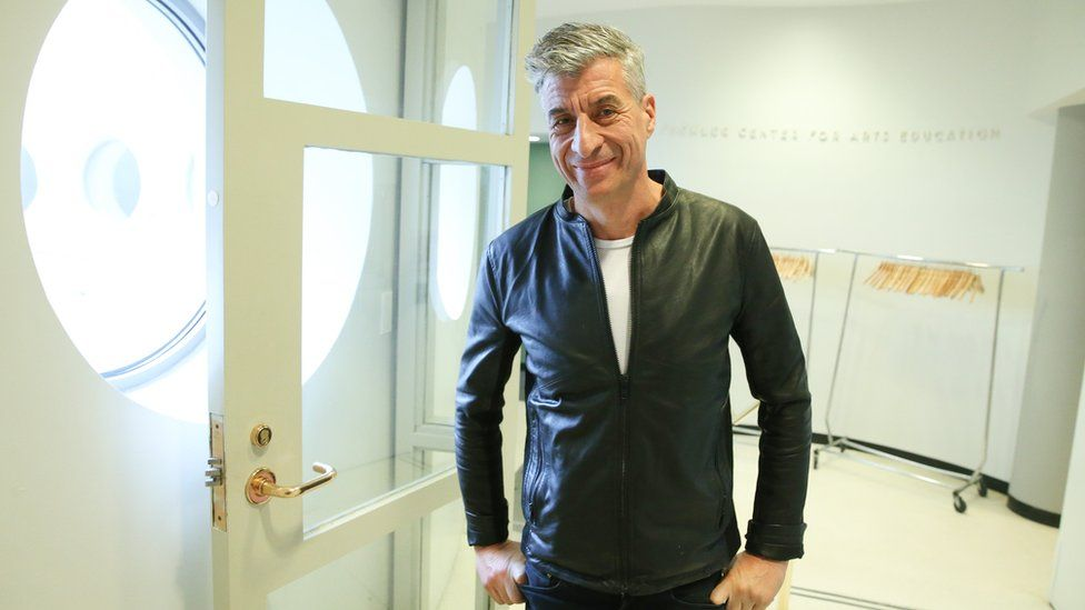 Maurizio Cattelan at the Guggenheim Museum in April this year