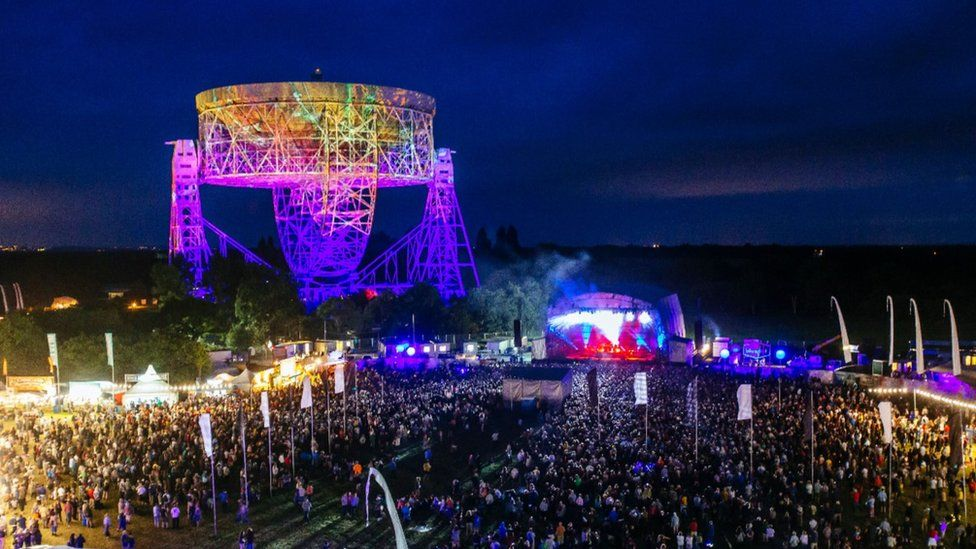 Jodrell Bank and the Lovell Telescope during the Bluedot Festival
