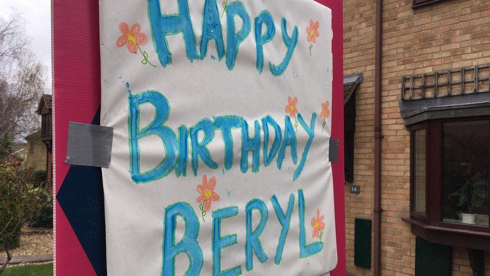 100th birthday celebration sign for Beryl Farrall