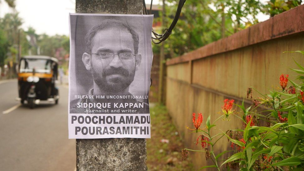A poster in Kerala calling for Sidhique Kappan's release