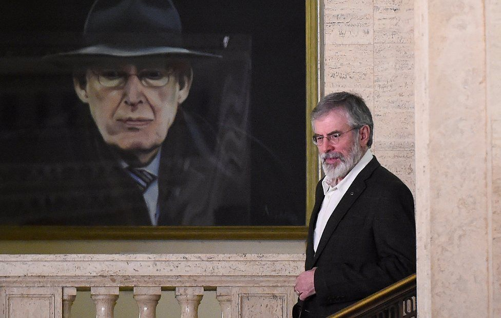 Gerry Adams was pictured leaving Stormont on his last night as leader of Sinn Féin