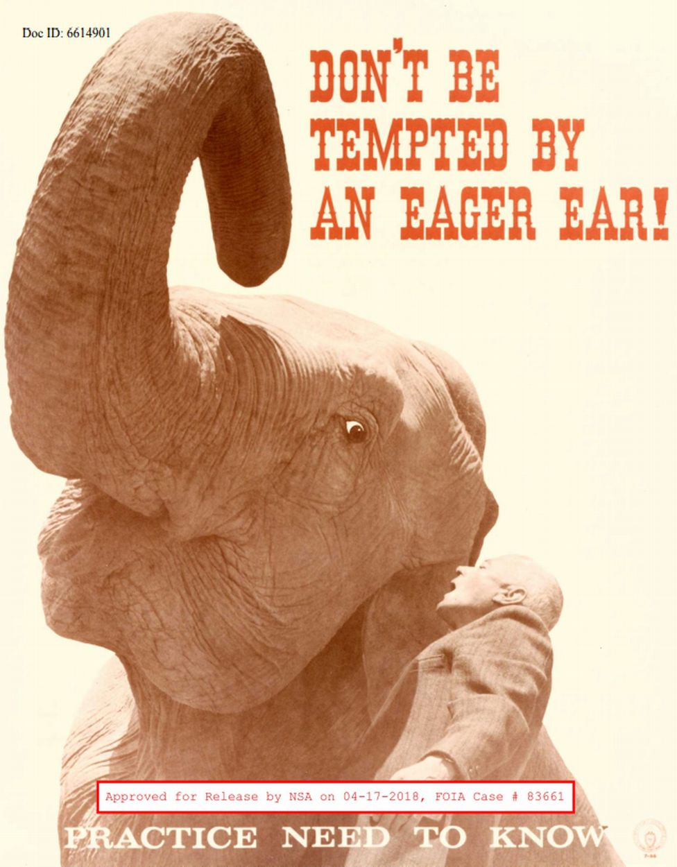 """Don't be tempted by an eager ear"" - a elephant features in an NSA poster"