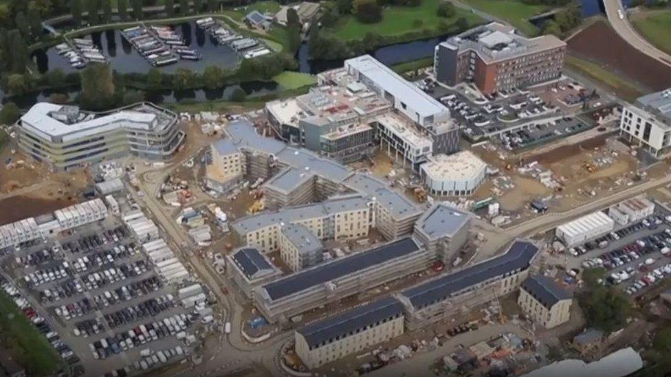 Drone footage of Waterside Campus, Northampton, being built in October 2017.