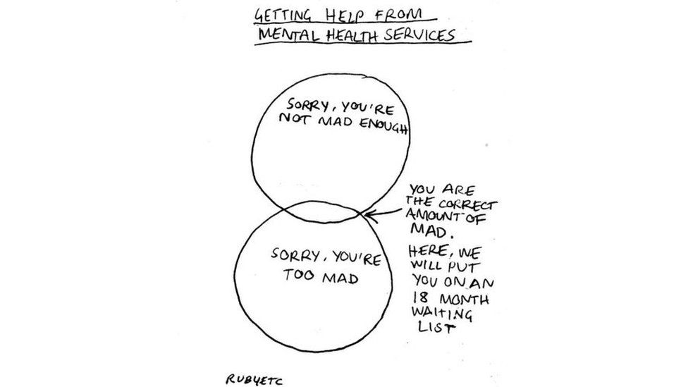 A Venn diagram relating to mental health services