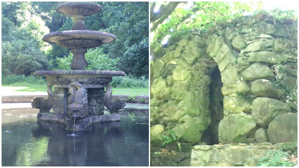 Features Parc Glynllifon - a grotto and a water fountain