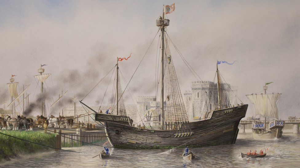 How the Newport Ship may have looked as it docked at Newport in the 15th Century