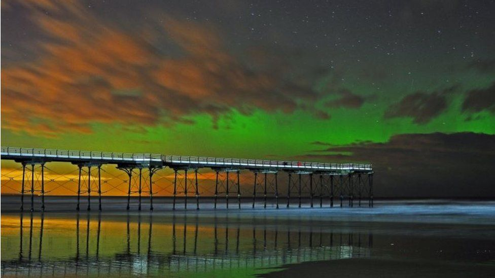 Damian Money took this shot of the northern lights over Saltburn Pier in North Yorkshire