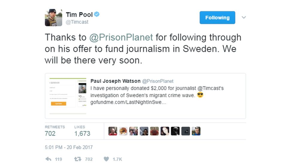 """@Timcast tweeted: """"Thanks to @PrisonPlanet for following through on his offer to fund journalism in Sweden. We will be there very soon""""."""