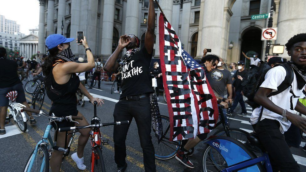 Activists at a Black Lives Matter rally in New York