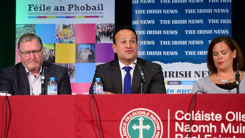Leo Varadkar with Doug Beattie and Mary Lou McDonald