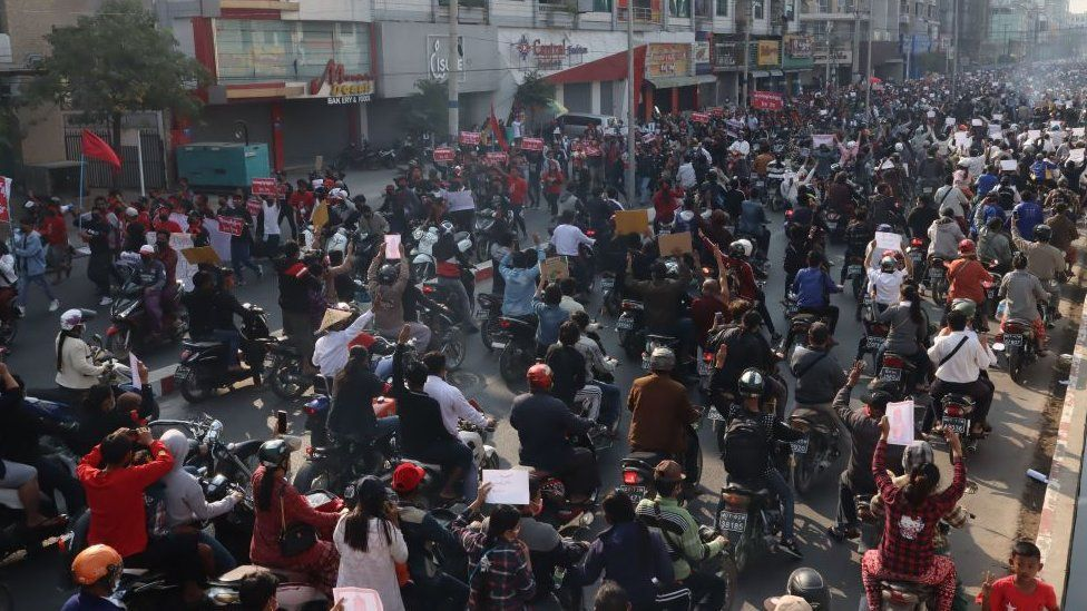 Protesters in Mandalay, 8 February