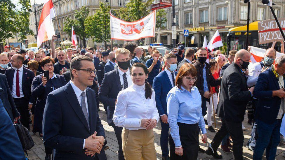 Poland's Prime Minister Mateusz Morawiecki pictured with the leader of the Belarusian opposition, Svetlana Tikhanovskaya