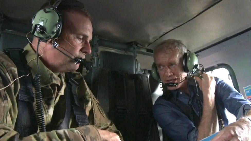 Gen Hodges (left) with BBC's Stephen Sackur at Nato exercise in Poland
