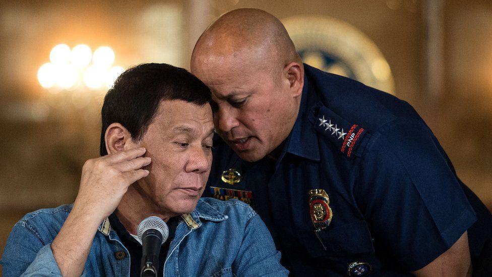 Philippine President Rodrigo Duterte and Police Chief Ronald dela Rosa