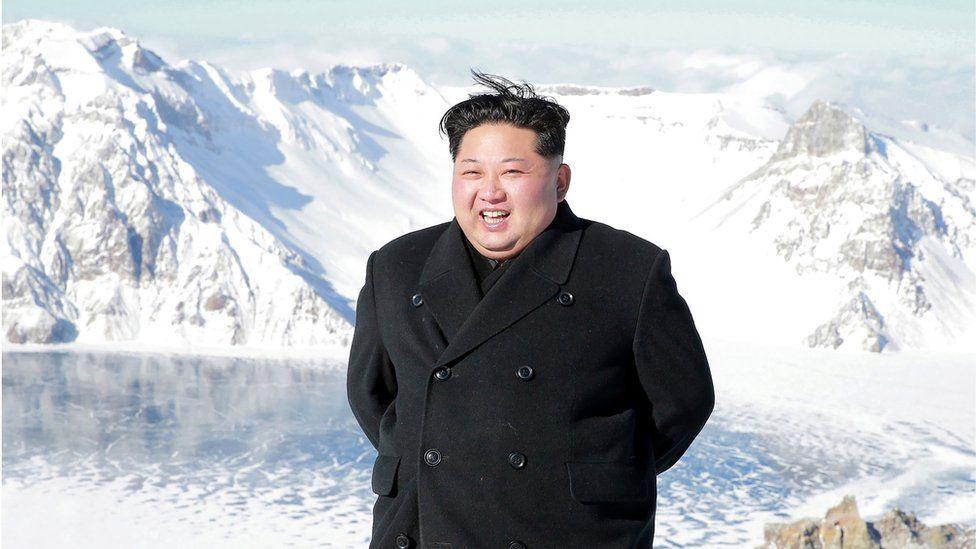 Kim Jong-un at the top of Mount Paektu