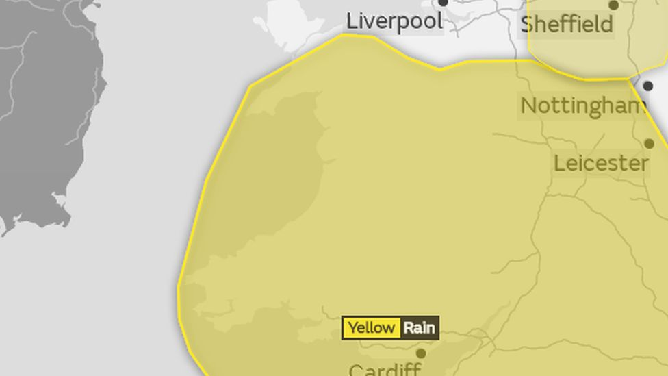 Yellow weather warning for Wales