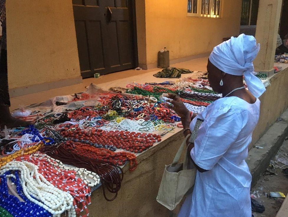 Traders ready with their colourful traditional beads to be sold to tourists
