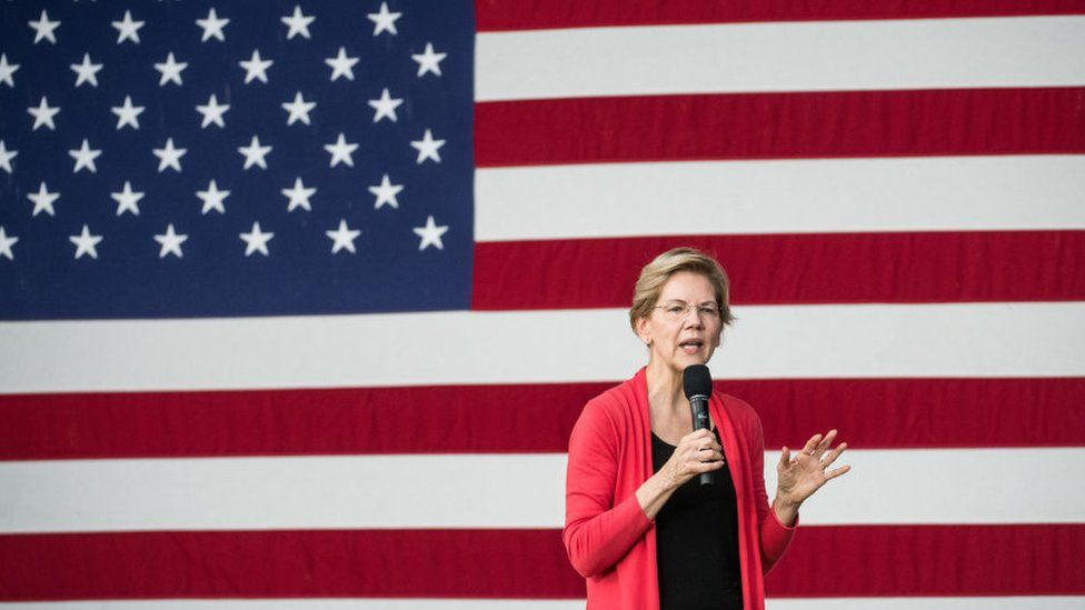 Democratic presidential candidate, Sen. Elizabeth Warren (D-MA) addresses a crowd outside of the Francis Marion Performing Arts Center October 26, 2019