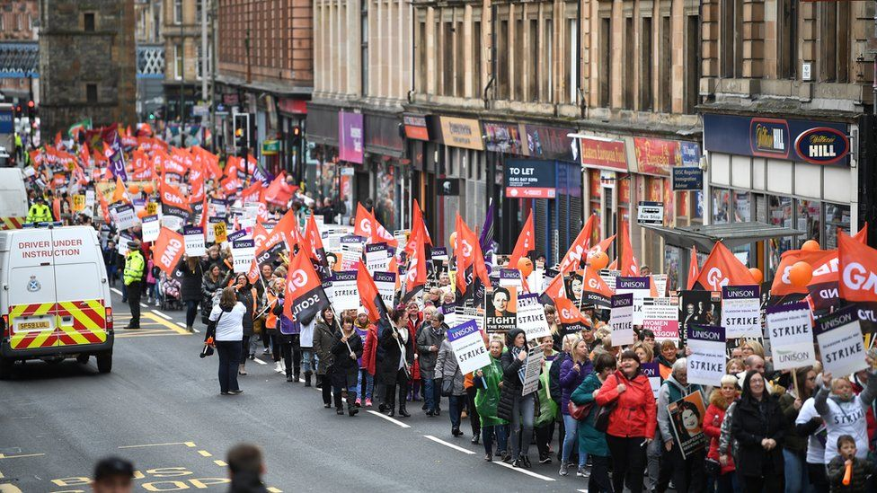 Strikers march to George Square