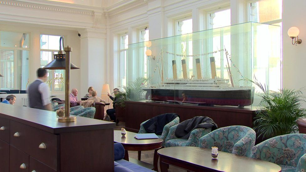 The lounge in the Titanic Hotel in Belfast