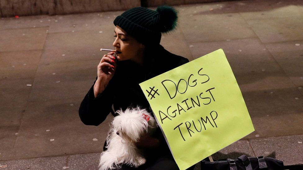 A protester and her dog at the Trump travel ban demo in London
