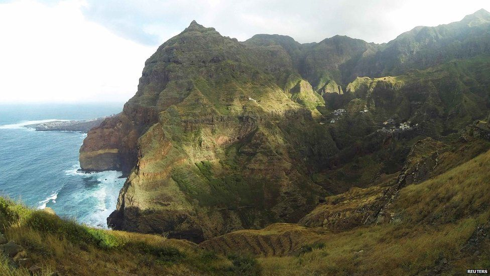 Cliffs stand against the ocean on the northern coast of the island of Santo Antao, Cape Verde