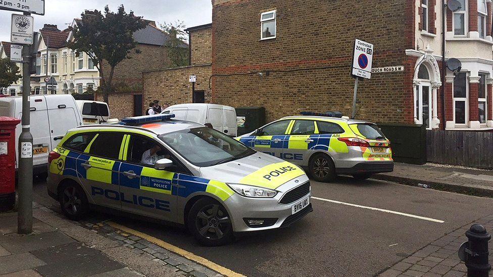 Police at the scene in Southfields,