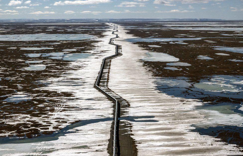 Oleodotto al di fuori di Prudhoe Bay, Alaska