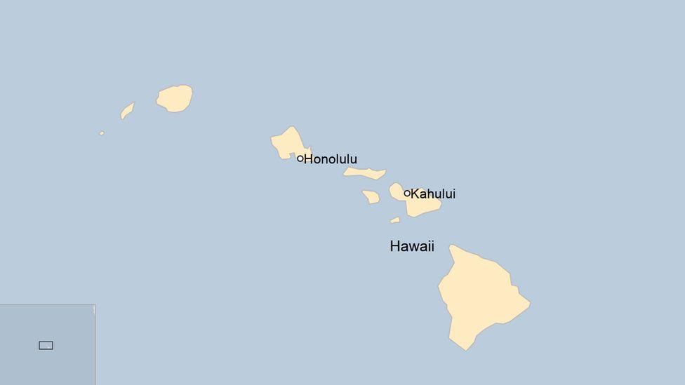 Map showing Honolulu and Kahului in Hawaii