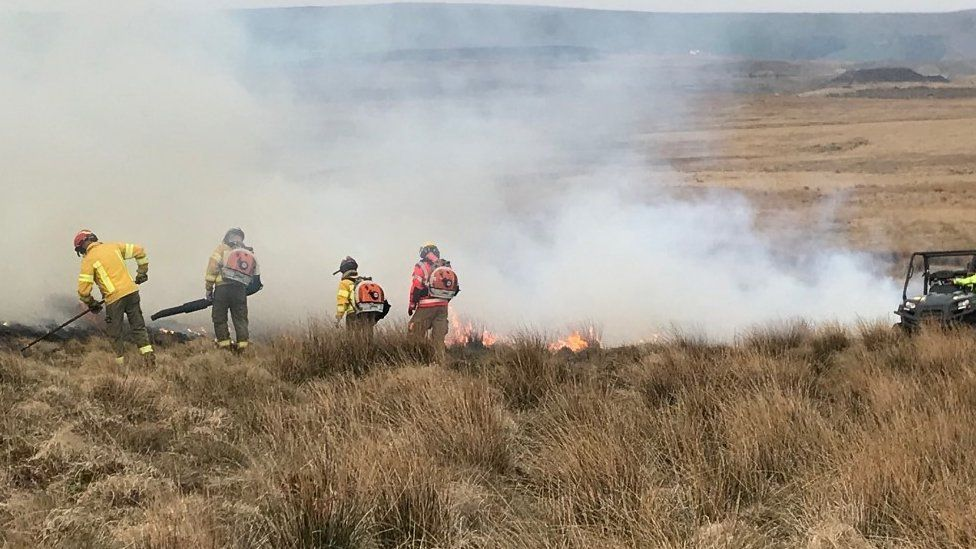 Moorland fire in Bacup