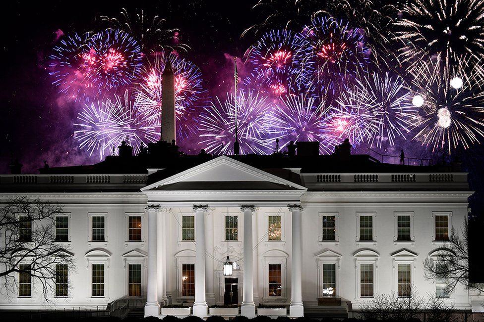 Fireworks are seen above the White House at the end of the Inauguration day for US President Joe Biden in Washington, DC, on 20 January 2021.