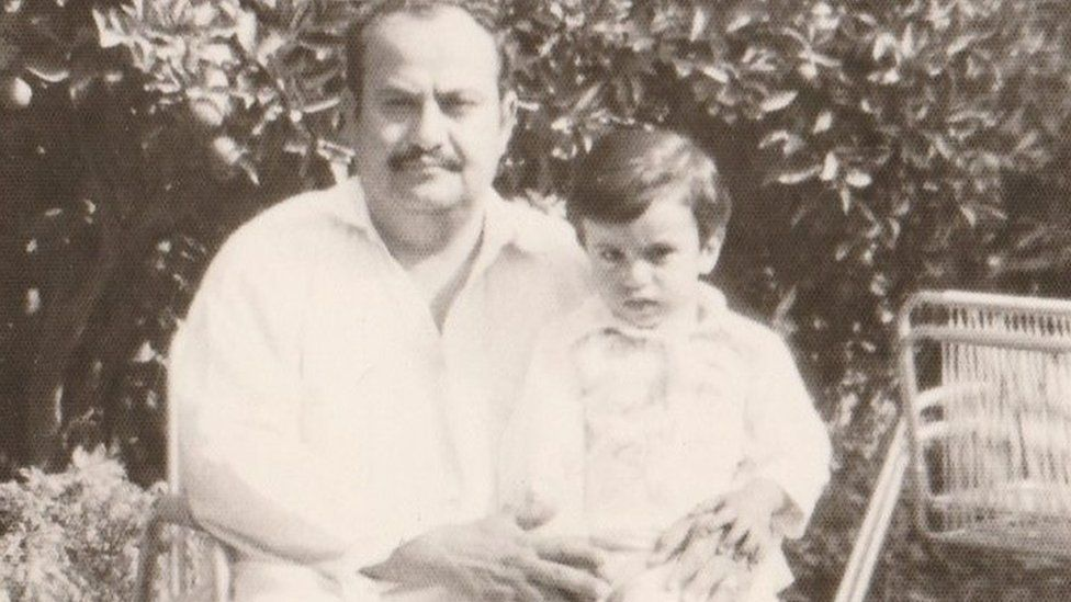 Basheer as a child with his father
