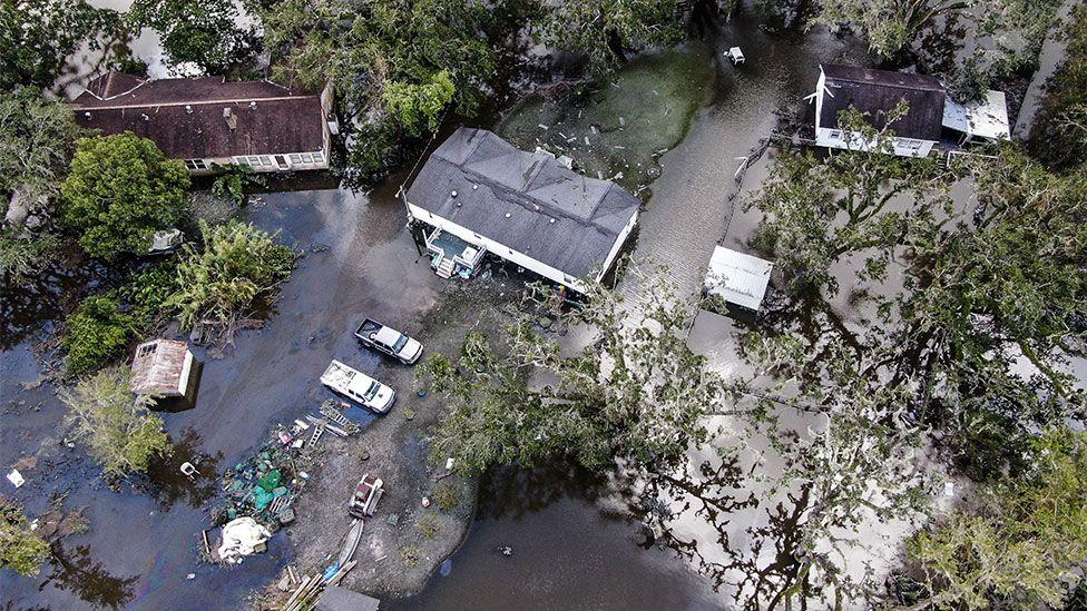 Aerial image of devastation caused by Hurricane Ida